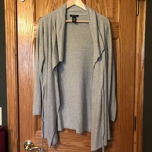 Women's BCBGMAXAZRIA Long Gray Wrap Sweater Large